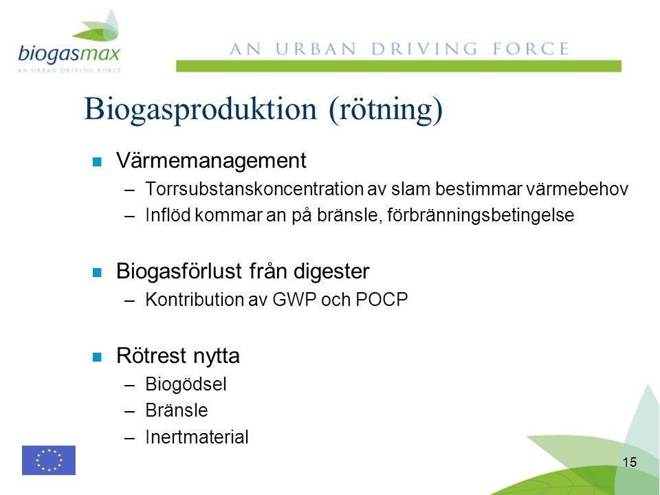 15 n Värmemanagement –Torrsubstanskoncentration av slam bestimmar värmebehov –Inflöd kommar an på bränsle, förbränningsbetingelse n Biogasförlust från