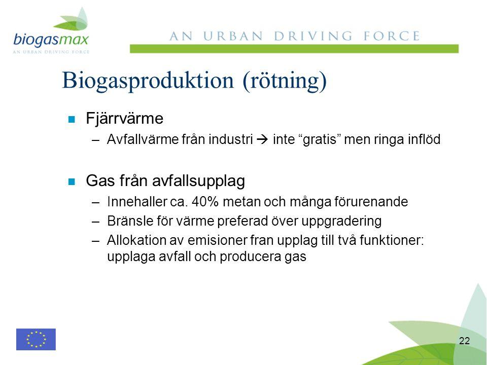 22 n Fjärrvärme –Avfallvärme från industri inte gratis men ringa inflöd n Gas från avfallsupplag –Innehaller ca. 40% metan och många förurenande –Brän