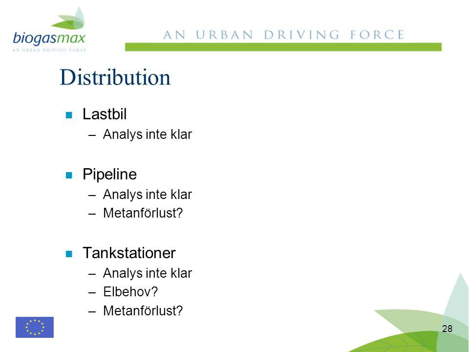 28 n Lastbil –Analys inte klar n Pipeline –Analys inte klar –Metanförlust? n Tankstationer –Analys inte klar –Elbehov? –Metanförlust? Distribution