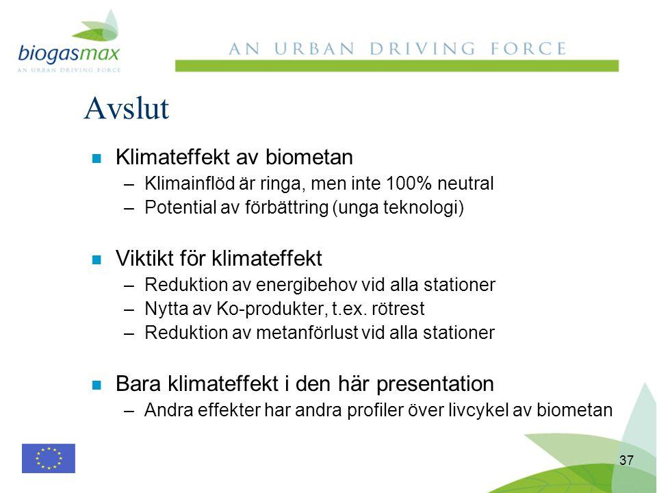 37 n Klimateffekt av biometan –Klimainflöd är ringa, men inte 100% neutral –Potential av förbättring (unga teknologi) n Viktikt för klimateffekt –Reduktion av energibehov vid alla stationer –Nytta av Ko-produkter, t.ex.