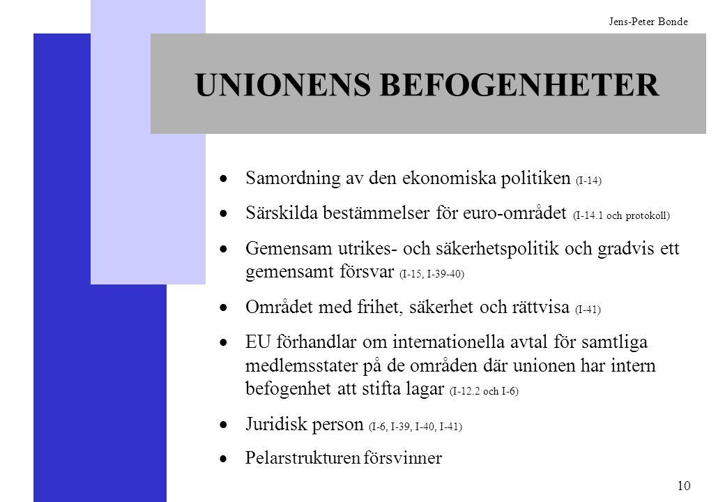 10 Jens-Peter Bonde UNIONENS BEFOGENHETER Samordning av den ekonomiska politiken (I-14) Särskilda bestämmelser för euro-området (I-14.1 och protokoll)