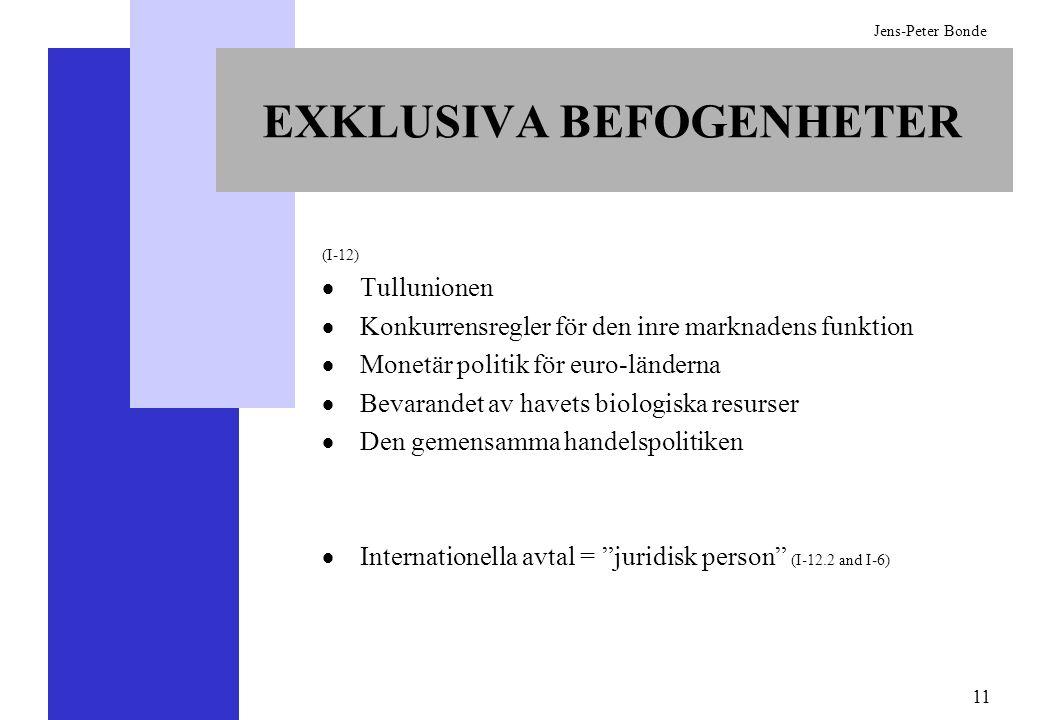 11 Jens-Peter Bonde EXKLUSIVA BEFOGENHETER (I-12) Tullunionen Konkurrensregler för den inre marknadens funktion Monetär politik för euro-länderna Beva
