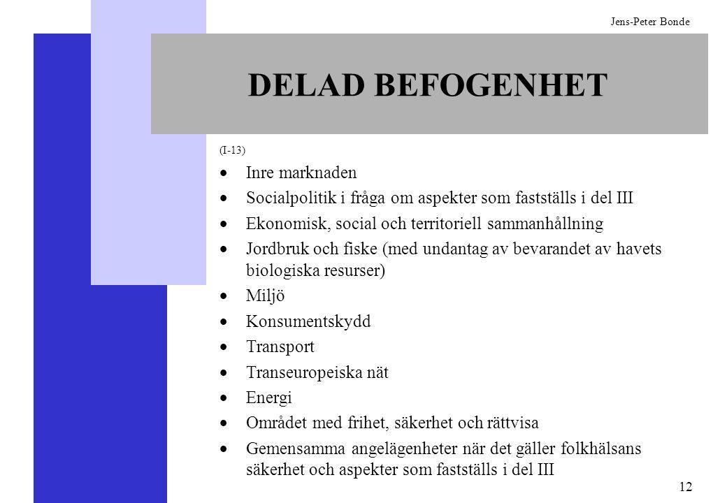 12 Jens-Peter Bonde DELAD BEFOGENHET (I-13) Inre marknaden Socialpolitik i fråga om aspekter som fastställs i del III Ekonomisk, social och territorie