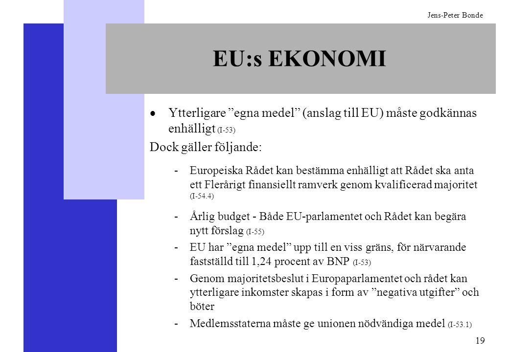 19 Jens-Peter Bonde EU:s EKONOMI Ytterligare egna medel (anslag till EU) måste godkännas enhälligt (I-53) Dock gäller följande: -Europeiska Rådet kan