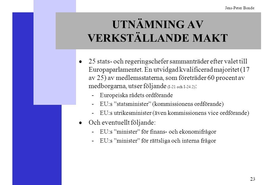 23 Jens-Peter Bonde UTNÄMNING AV VERKSTÄLLANDE MAKT 25 stats- och regeringschefer sammanträder efter valet till Europaparlamentet. En utvidgad kvalifi
