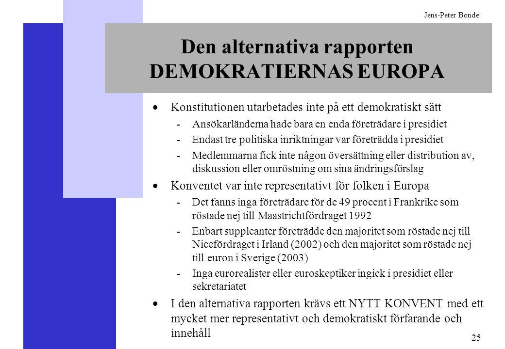 25 Jens-Peter Bonde Den alternativa rapporten DEMOKRATIERNAS EUROPA Konstitutionen utarbetades inte på ett demokratiskt sätt -Ansökarländerna hade bar