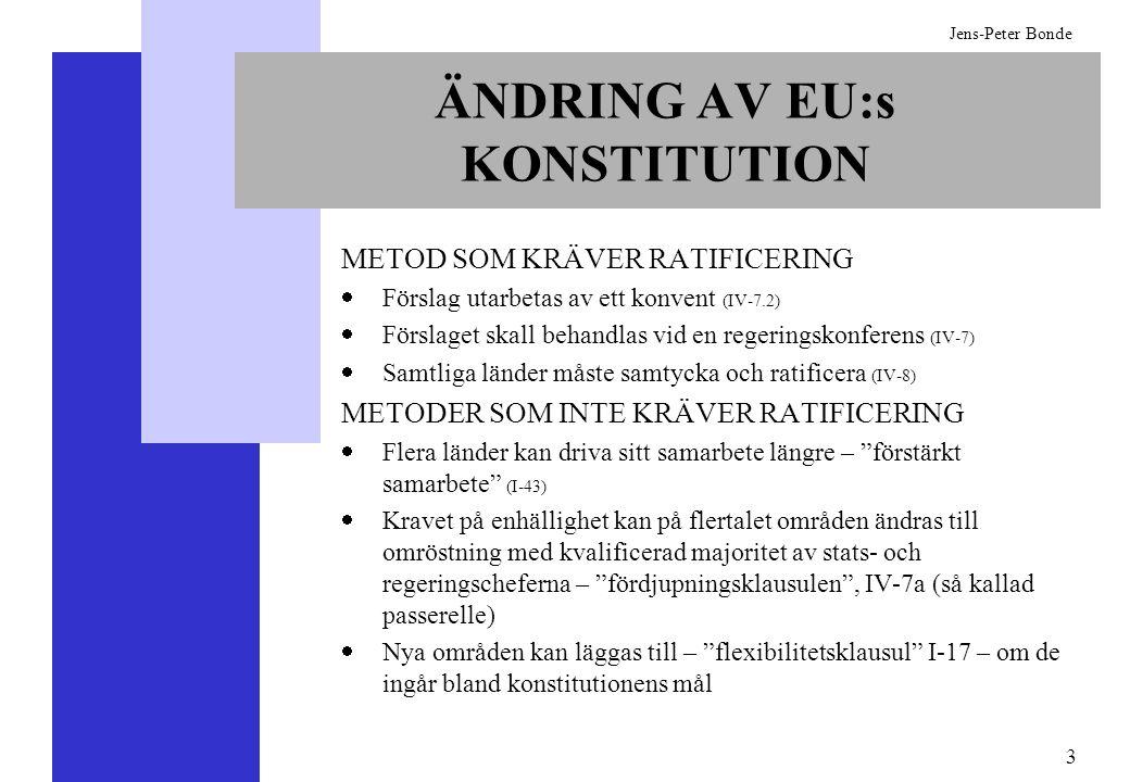 4 Jens-Peter Bonde KONSTITUTIONENS UPPBYGGNAD Inledning (Ingress) AVDELNING I – Mål, värderingar och metoder AVDELNING II – Gemensamma grundläggande rättigheter (stadgan) AVDELNING III – Olika politikområden och befogenhetskategorier AVDELNING IV – Sammanfattande bestämmelser BILAGA – Protokoll och förklaringar -Protokoll är juridiskt bindande.