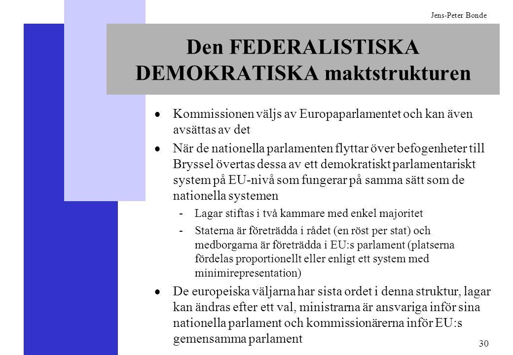 30 Jens-Peter Bonde Den FEDERALISTISKA DEMOKRATISKA maktstrukturen Kommissionen väljs av Europaparlamentet och kan även avsättas av det När de natione