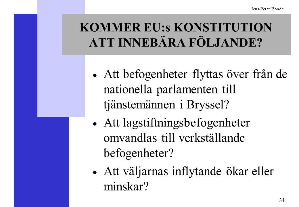 31 Jens-Peter Bonde KOMMER EU:s KONSTITUTION ATT INNEBÄRA FÖLJANDE? Att befogenheter flyttas över från de nationella parlamenten till tjänstemännen i