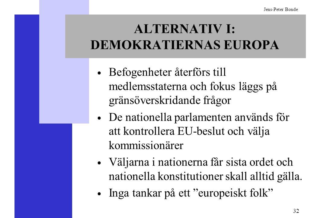 32 Jens-Peter Bonde ALTERNATIV I: DEMOKRATIERNAS EUROPA Befogenheter återförs till medlemsstaterna och fokus läggs på gränsöverskridande frågor De nat