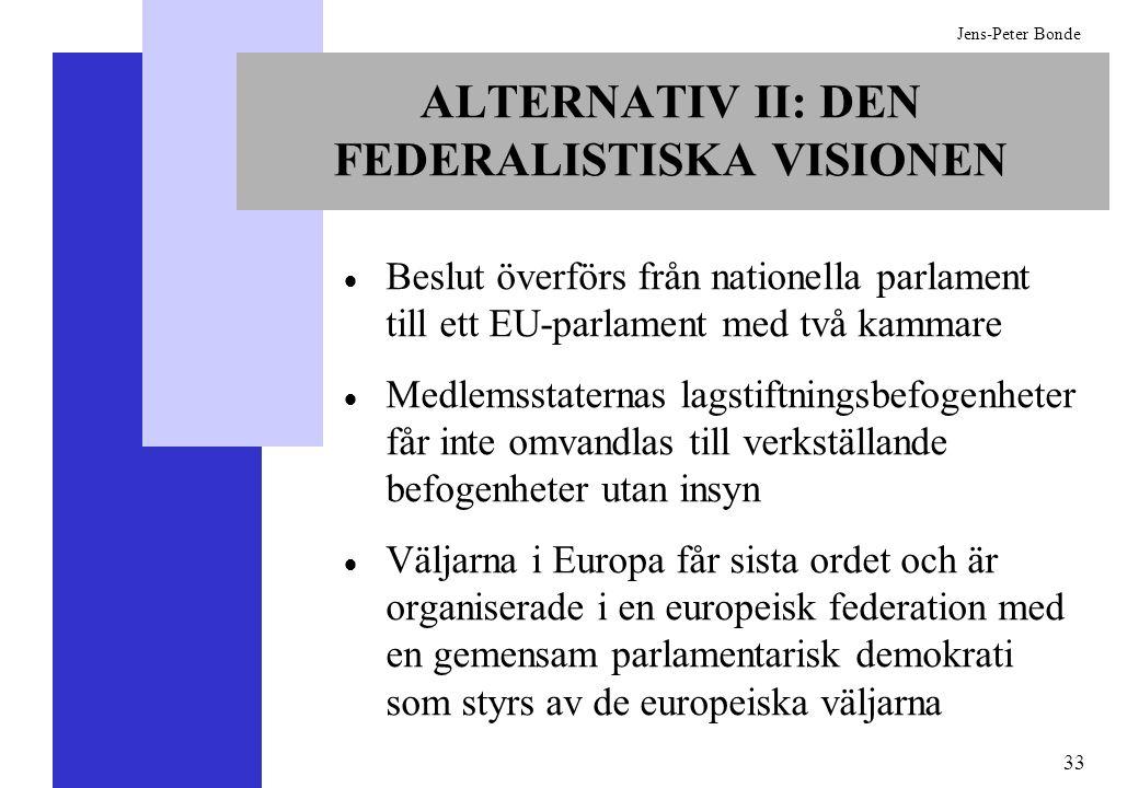 33 Jens-Peter Bonde ALTERNATIV II: DEN FEDERALISTISKA VISIONEN Beslut överförs från nationella parlament till ett EU-parlament med två kammare Medlems