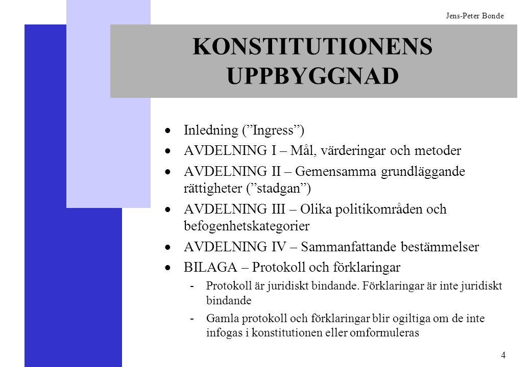 4 Jens-Peter Bonde KONSTITUTIONENS UPPBYGGNAD Inledning (Ingress) AVDELNING I – Mål, värderingar och metoder AVDELNING II – Gemensamma grundläggande r