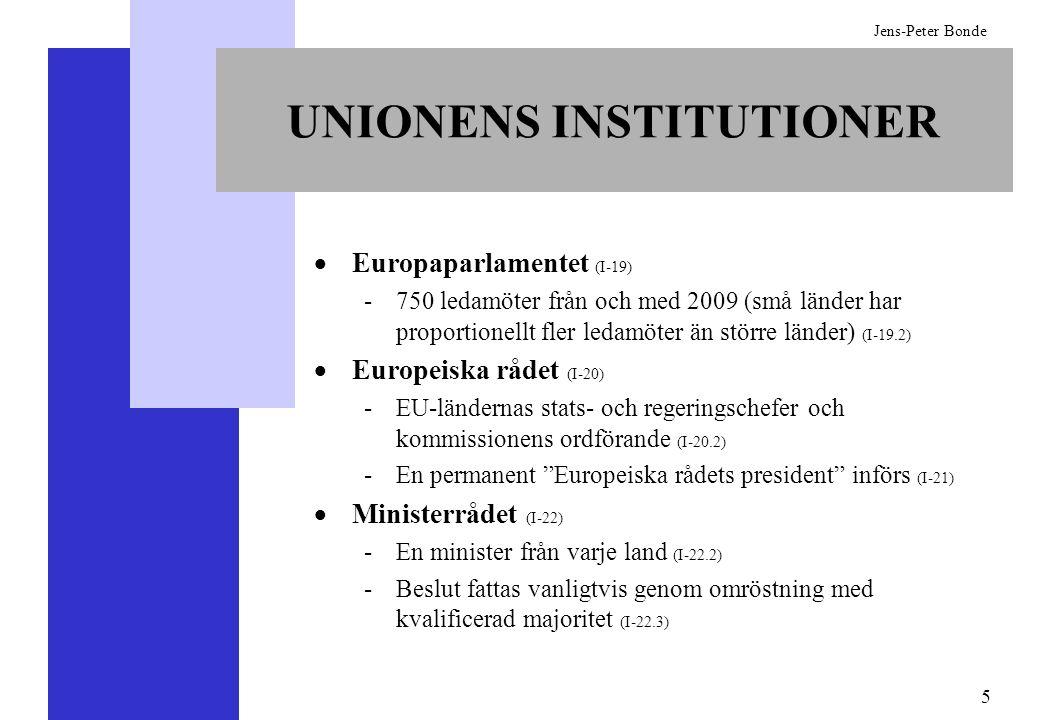 5 Jens-Peter Bonde UNIONENS INSTITUTIONER Europaparlamentet (I-19) -750 ledamöter från och med 2009 (små länder har proportionellt fler ledamöter än s