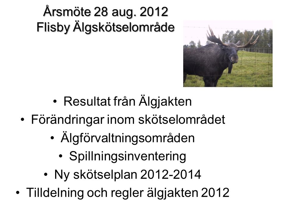 Årsmöte 28 aug. 2012 Flisby Älgskötselområde Resultat från Älgjakten Förändringar inom skötselområdet Älgförvaltningsområden Spillningsinventering Ny