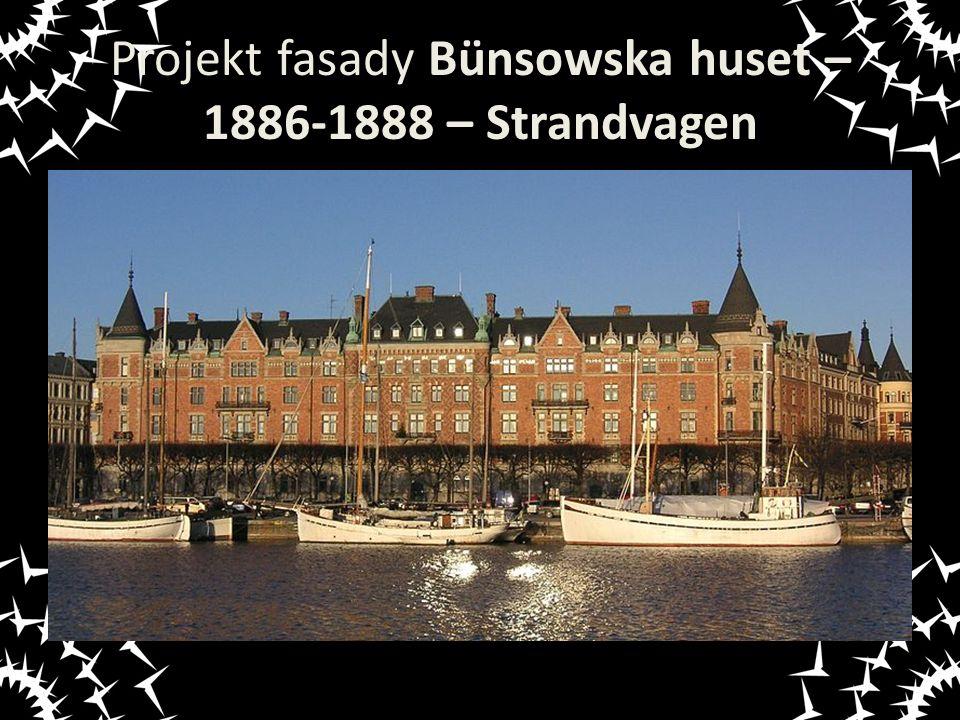 Projekt fasady Bünsowska huset – 1886-1888 – Strandvagen