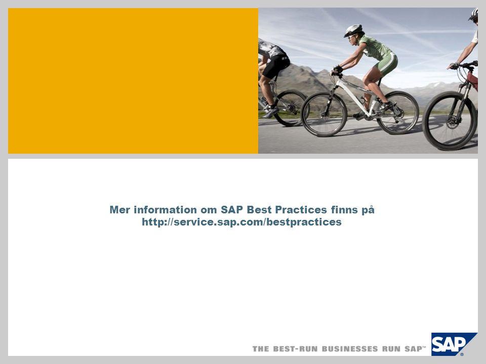 Mer information om SAP Best Practices finns på http://service.sap.com/bestpractices