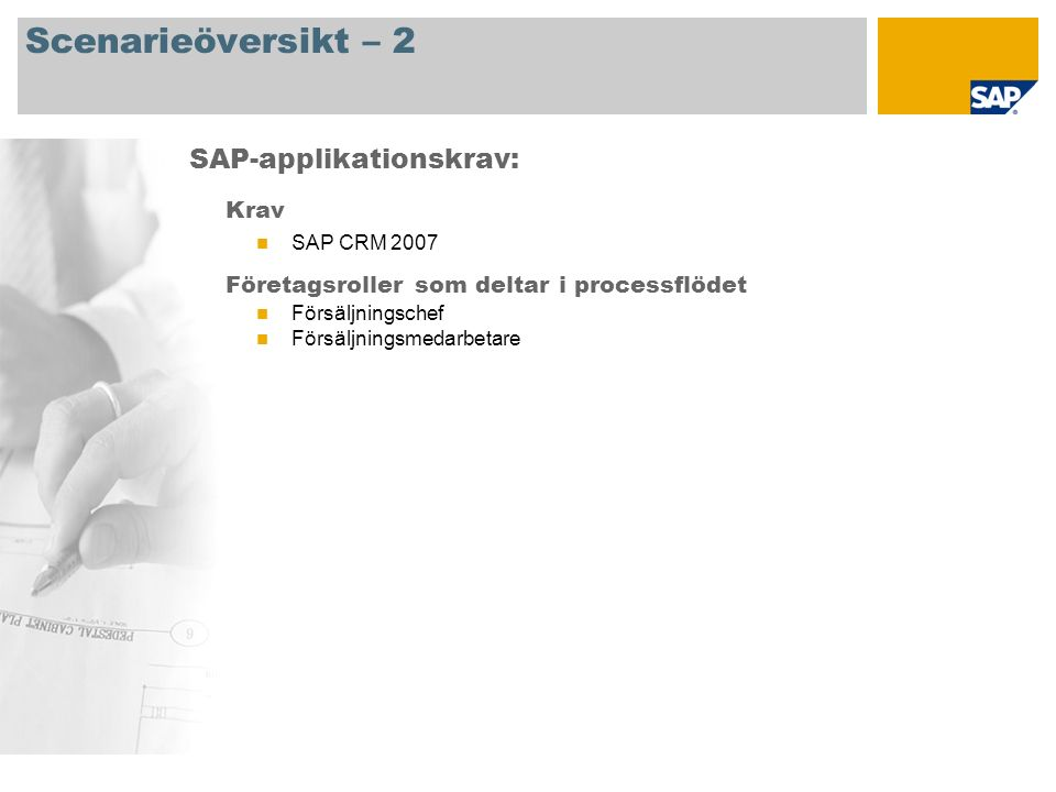 Processflödesdiagram Aktivitetsstyrning Försäljn.- chef Start Försäljn.- medarb.