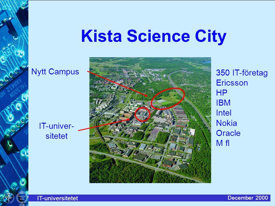 IT-universitetet December 2000 350 IT-företag Ericsson HP IBM Intel Nokia Oracle M fl IT-univer- sitetet Nytt Campus Kista Science City