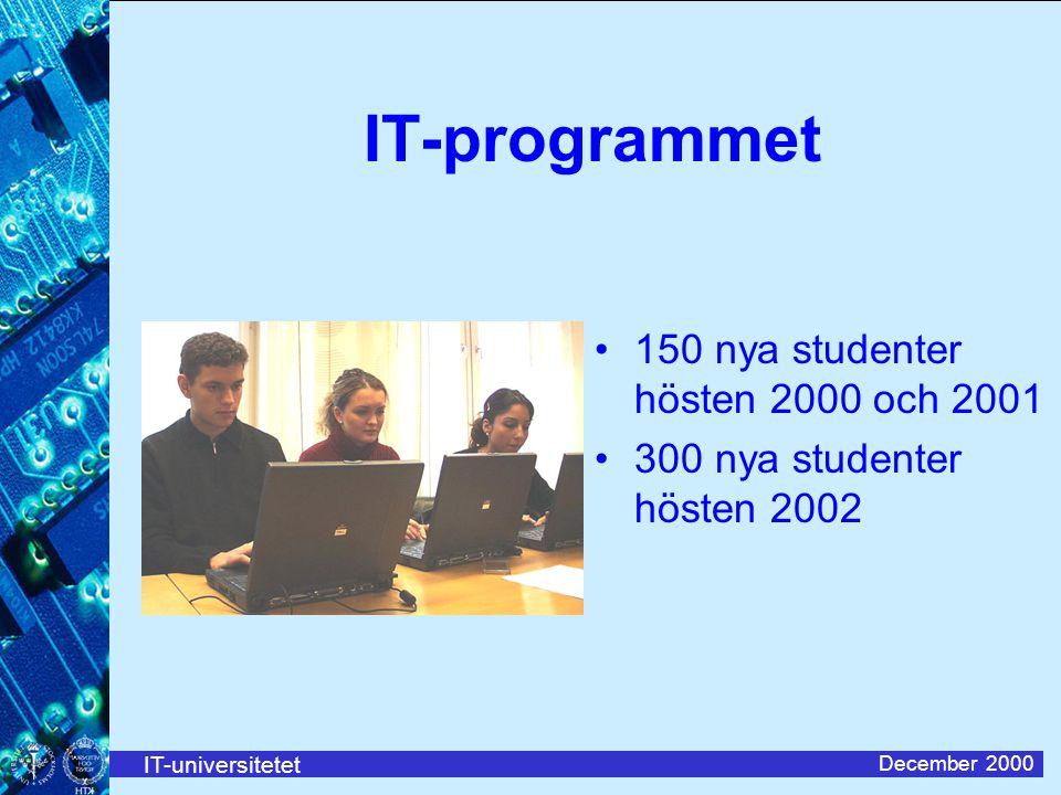 IT-universitetet December 2000 IT-programmet 150 nya studenter hösten 2000 och 2001 300 nya studenter hösten 2002