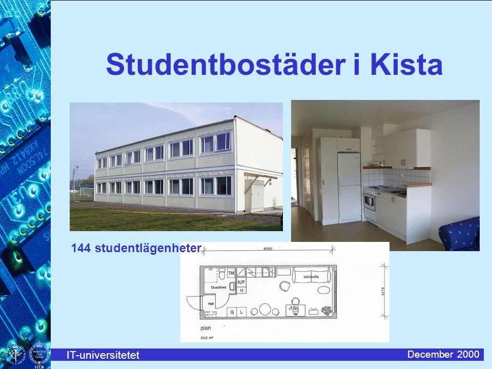 IT-universitetet December 2000 Studentbostäder i Kista 144 studentlägenheter