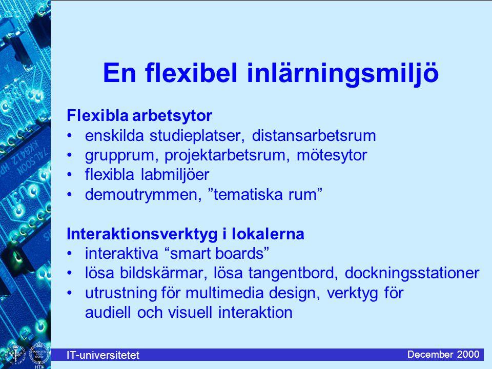 IT-universitetet December 2000 En flexibel inlärningsmiljö Flexibla arbetsytor enskilda studieplatser, distansarbetsrum grupprum, projektarbetsrum, mö