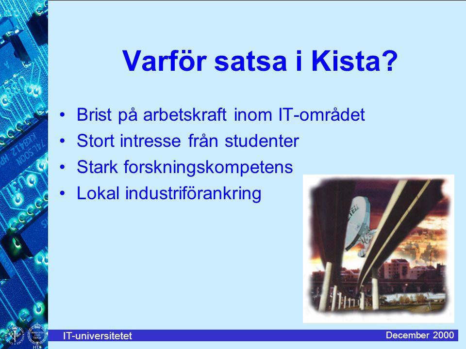 IT-universitetet December 2000 Varför satsa i Kista.