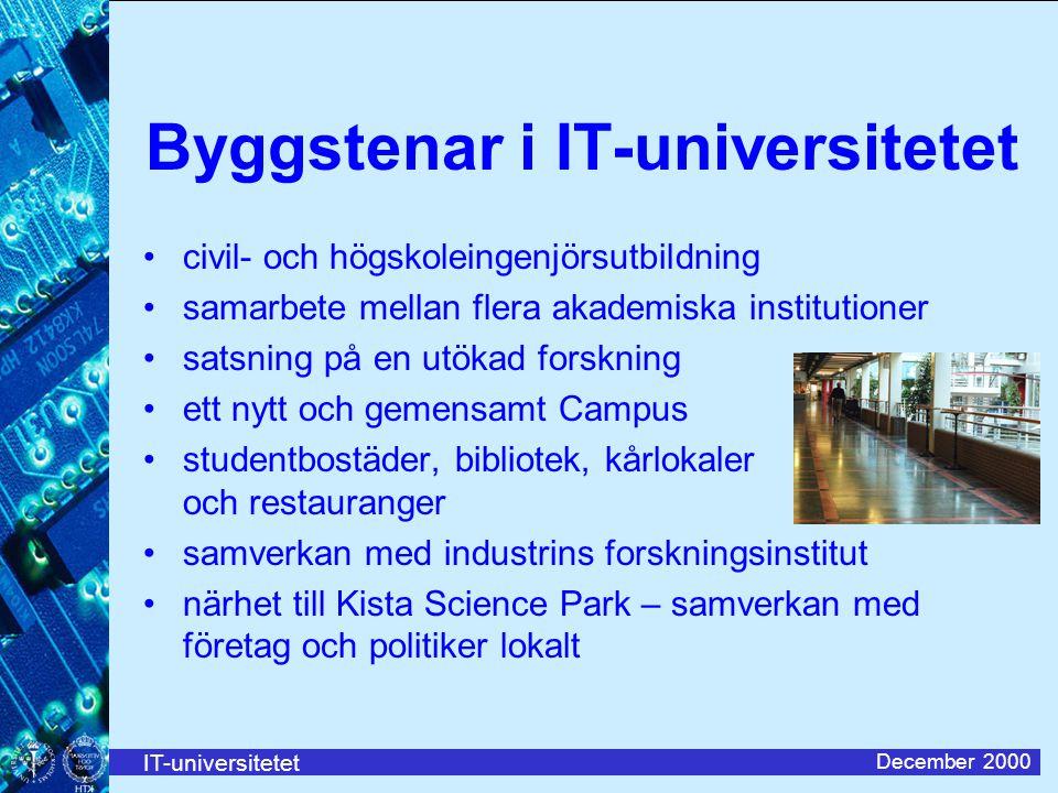 IT-universitetet December 2000 Byggstenar i IT-universitetet civil- och högskoleingenjörsutbildning samarbete mellan flera akademiska institutioner sa