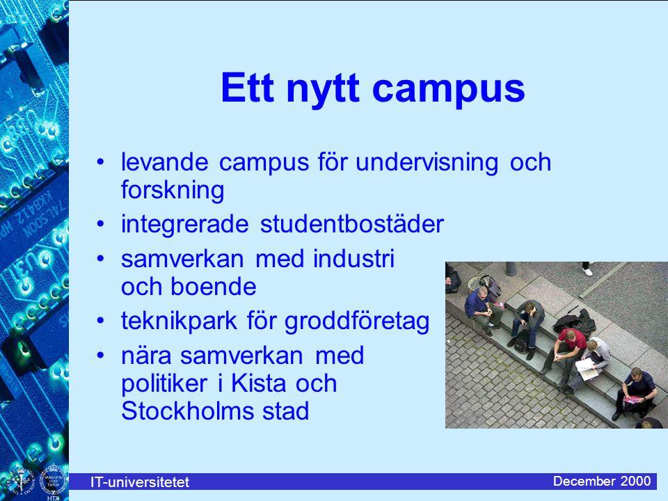 IT-universitetet December 2000 Ett nytt campus levande campus för undervisning och forskning integrerade studentbostäder samverkan med industri och boende teknikpark för groddföretag nära samverkan med politiker i Kista och Stockholms stad