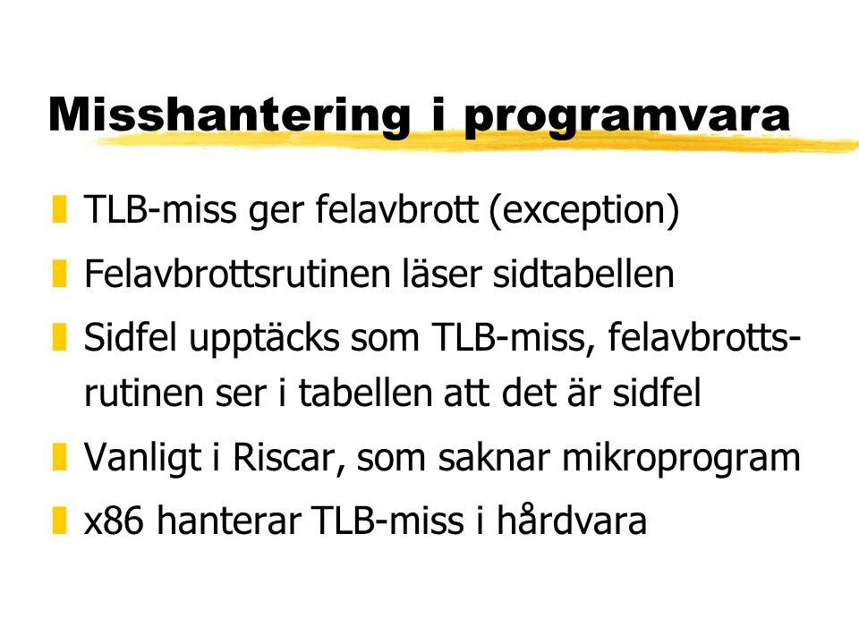 Misshantering i programvara zTLB-miss ger felavbrott (exception) zFelavbrottsrutinen läser sidtabellen zSidfel upptäcks som TLB-miss, felavbrotts- rut
