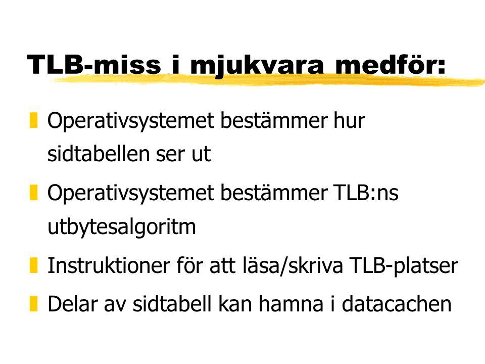 TLB-miss i mjukvara medför: zOperativsystemet bestämmer hur sidtabellen ser ut zOperativsystemet bestämmer TLB:ns utbytesalgoritm zInstruktioner för a