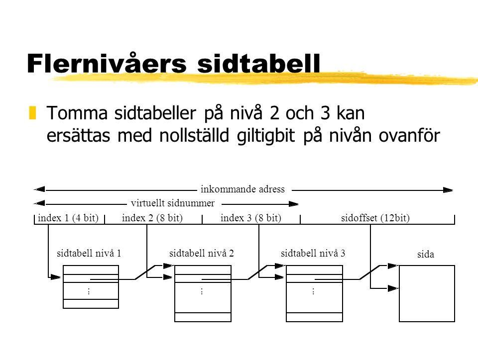 Flernivåers sidtabell zTomma sidtabeller på nivå 2 och 3 kan ersättas med nollställd giltigbit på nivån ovanför sidoffset (12bit) inkommande adress vi