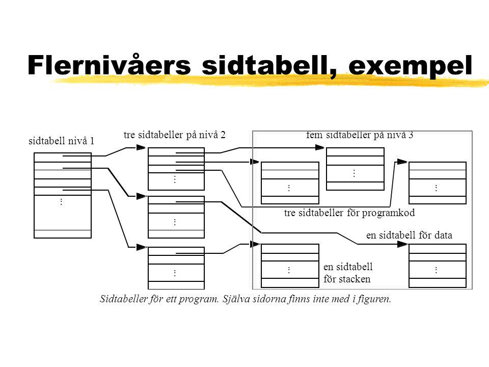 Flernivåers sidtabell, exempel Sidtabeller för ett program. Själva sidorna finns inte med i figuren. sidtabell nivå 1...... tre sidtabeller på nivå 2.