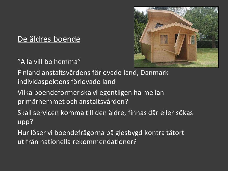 De äldres boende Alla vill bo hemma Finland anstaltsvårdens förlovade land, Danmark individaspektens förlovade land Vilka boendeformer ska vi egentligen ha mellan primärhemmet och anstaltsvården.