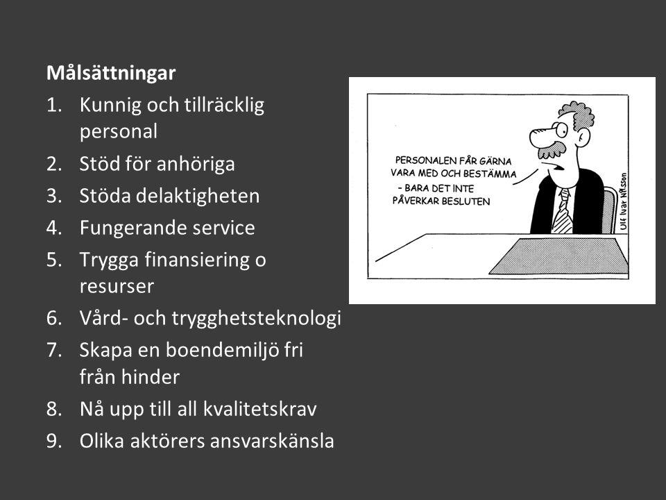 Problemet i Finland är inte i första hand finansiellt utan attitydmässigt Exempel: 1.Om äldres funktionsförmåga bevaras aktiv insjuknar de mer sällan och klarar sig längre hemma 2. Vår mamma bör få all vår här, hon ska få ligga ifred 3.Individen ska ta reda på alla sina förmåner i stället för att kommun söker upp o informerar 4.De individuella önskemålen beaktas eller uppfylls sällan 5.Den personliga integritetet uppmärksammas inte tillräckligt 6.Massmedias roll viktig 7.Hur få förtroendevalda att inse verkstadsgolvets realiteter och behov
