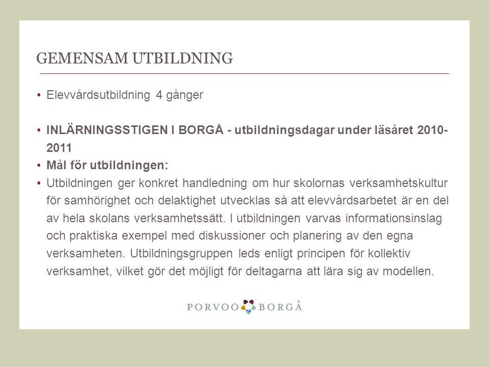 GEMENSAM UTBILDNING Elevvårdsutbildning 4 gånger INLÄRNINGSSTIGEN I BORGÅ - utbildningsdagar under läsåret 2010- 2011 Mål för utbildningen: Utbildning