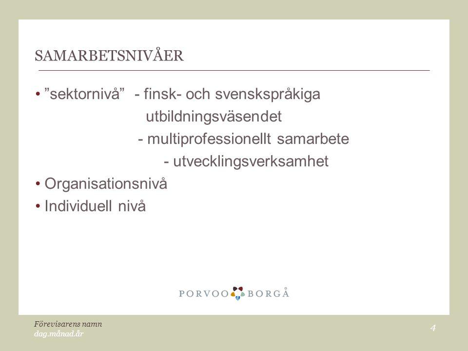 """dag.månad.år Förevisarens namn 4 SAMARBETSNIVÅER """"sektornivå"""" - finsk- och svenskspråkiga utbildningsväsendet - multiprofessionellt samarbete - utveck"""