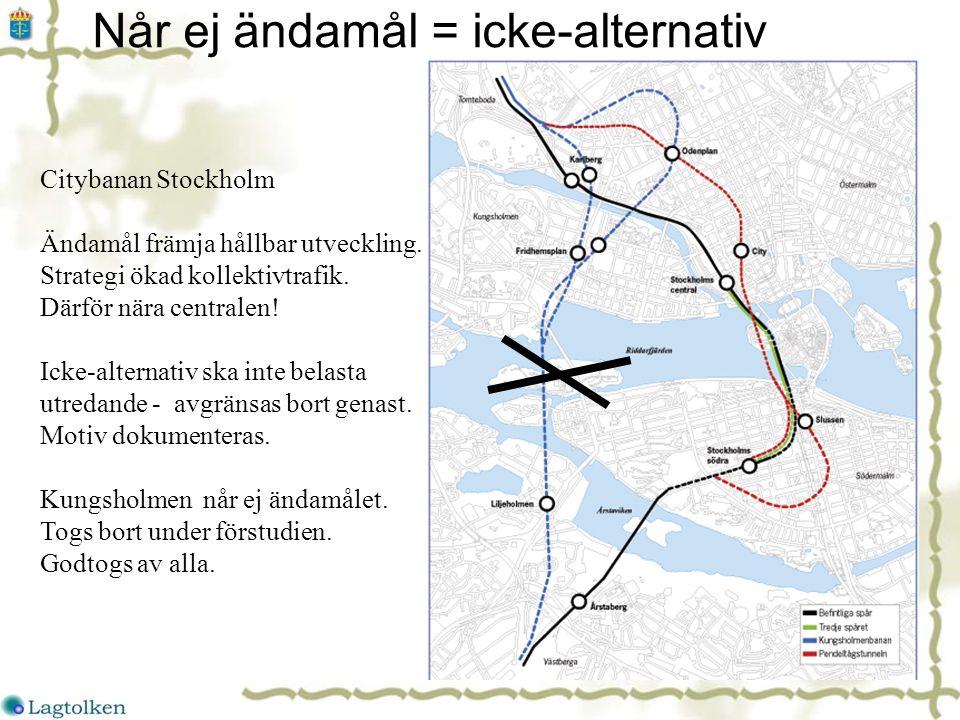 Når ej ändamål = icke-alternativ Citybanan Stockholm Ändamål främja hållbar utveckling.