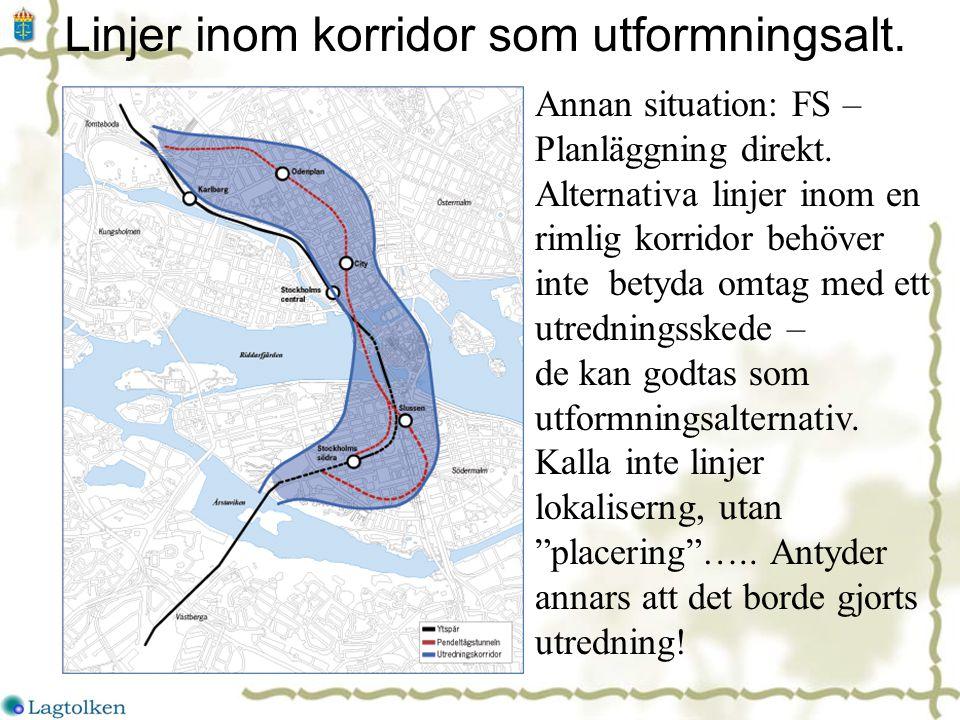 Linjer inom korridor som utformningsalt. Annan situation: FS – Planläggning direkt.