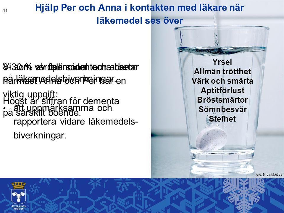 Hjälp Per och Anna i kontakten med läkare när läkemedel ses över Vi som vårdpersonal och arbetar närmast Anna och Per har en viktig uppgift: att uppmärksamma och rapportera vidare läkemedels- biverkningar.