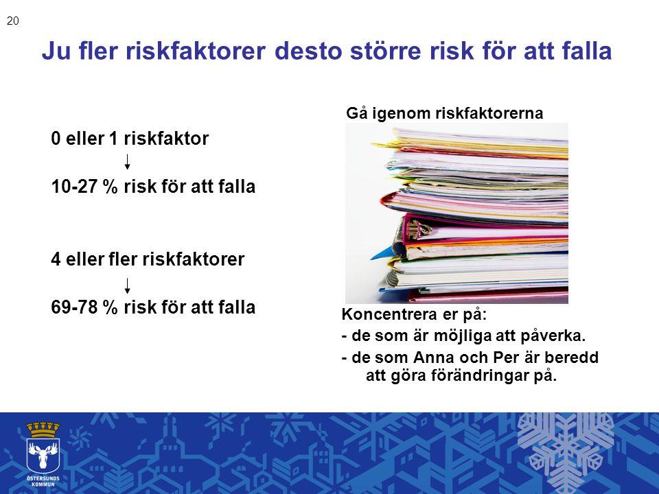 0 eller 1 riskfaktor 10-27 % risk för att falla 4 eller fler riskfaktorer 69-78 % risk för att falla Gå igenom riskfaktorerna Koncentrera er på: - de som är möjliga att påverka.
