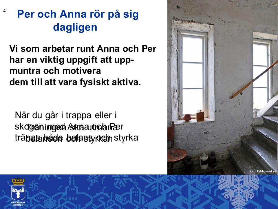 Per och Anna rör på sig dagligen Vi som arbetar runt Anna och Per har en viktig uppgift att upp- muntra och motivera dem till att vara fysiskt aktiva.