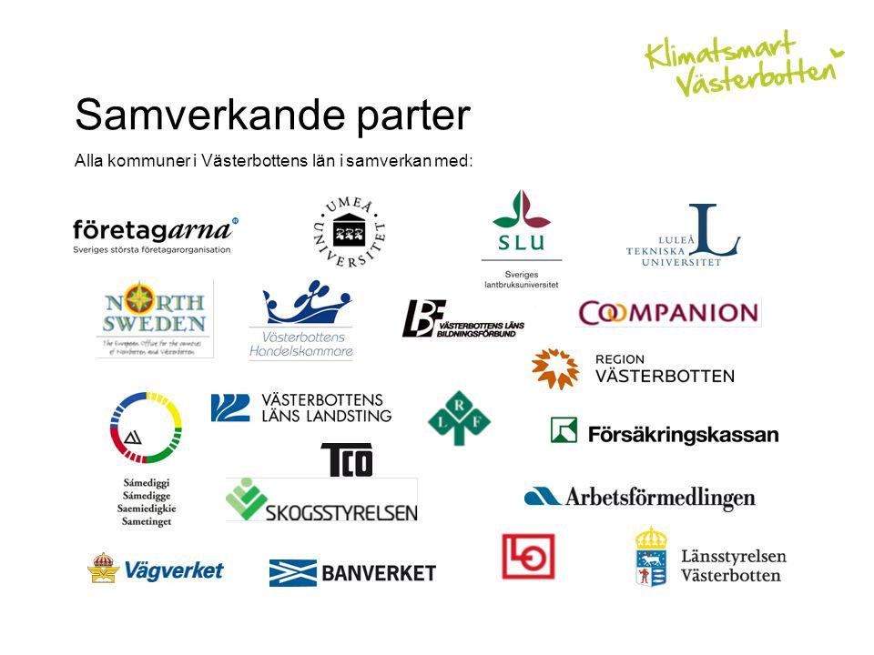 Samverkande parter Alla kommuner i Västerbottens län i samverkan med: