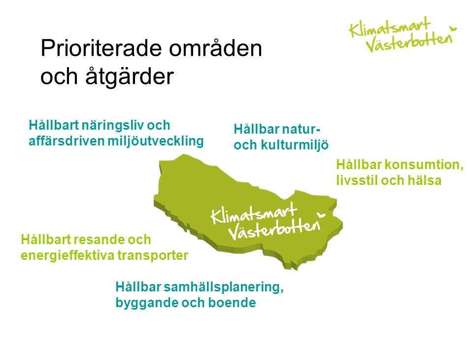 Prioriterade områden och åtgärder Hållbar samhällsplanering, byggande och boende Hållbart resande och energieffektiva transporter Hållbart näringsliv och affärsdriven miljöutveckling Hållbar natur- och kulturmiljö Hållbar konsumtion, livsstil och hälsa