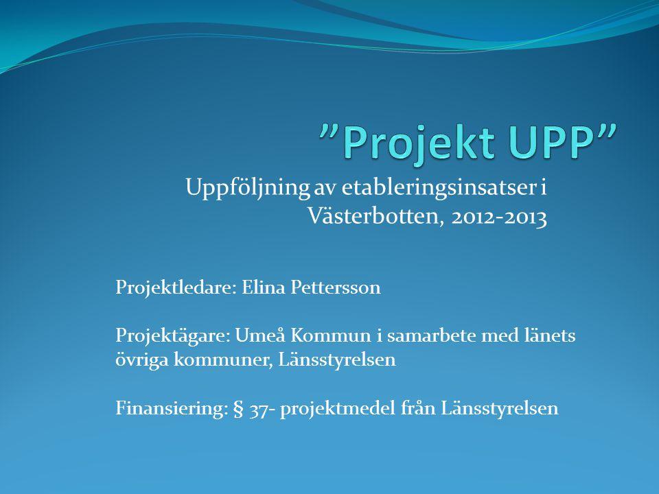 Uppföljning av etableringsinsatser i Västerbotten, 2012-2013 Projektledare: Elina Pettersson Projektägare: Umeå Kommun i samarbete med länets övriga k