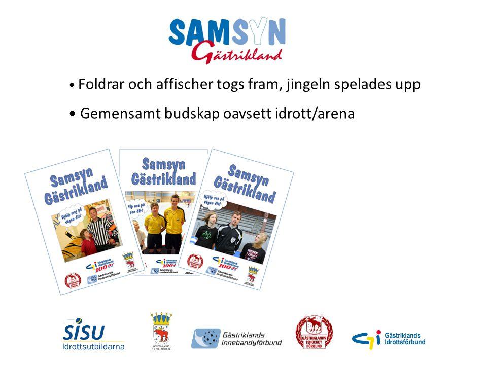 Foldrar och affischer togs fram, jingeln spelades upp Gemensamt budskap oavsett idrott/arena