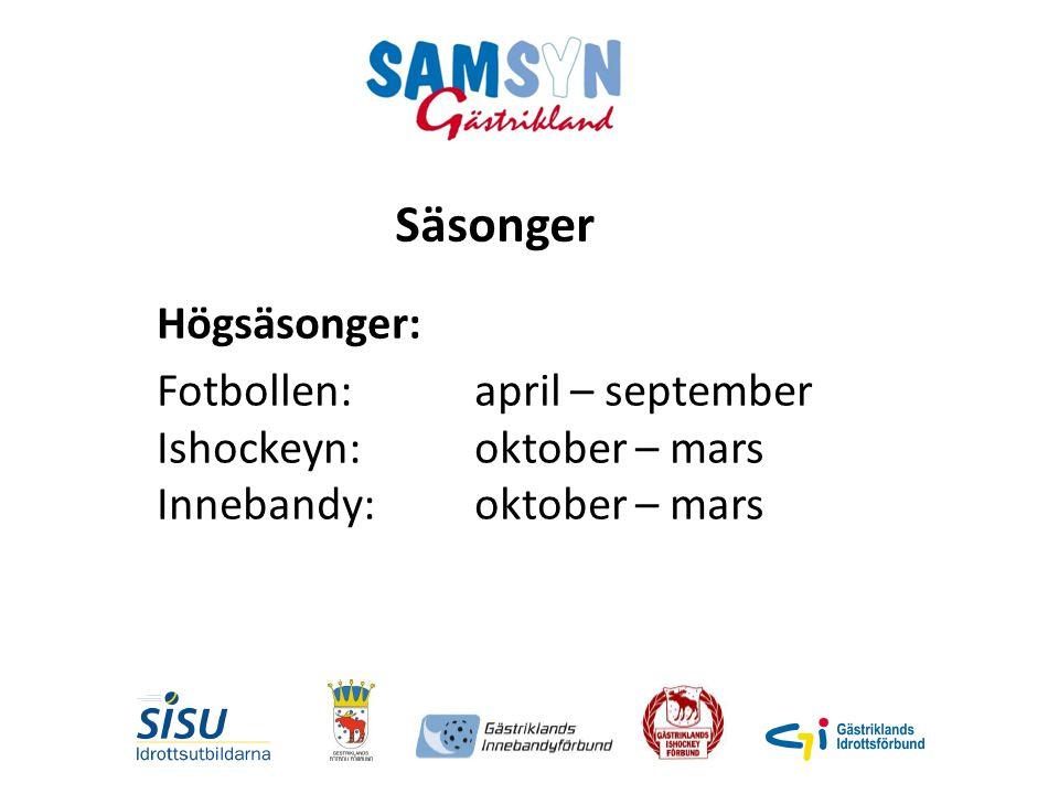 Högsäsonger: Fotbollen: april – september Ishockeyn: oktober – mars Innebandy: oktober – mars Säsonger
