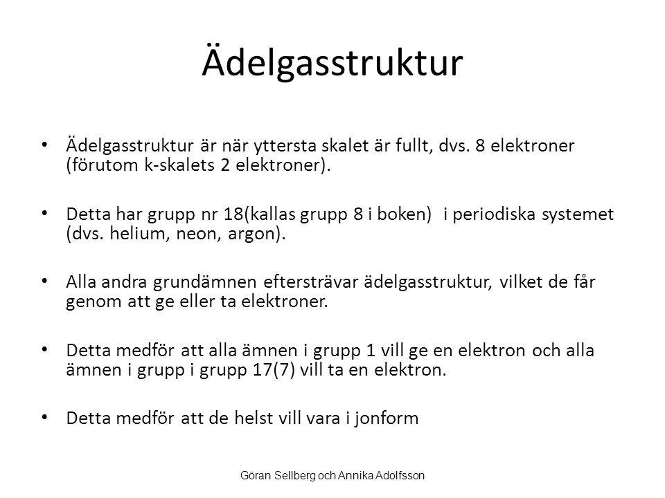 Ädelgasstruktur Ädelgasstruktur är när yttersta skalet är fullt, dvs. 8 elektroner (förutom k-skalets 2 elektroner). Detta har grupp nr 18(kallas grup