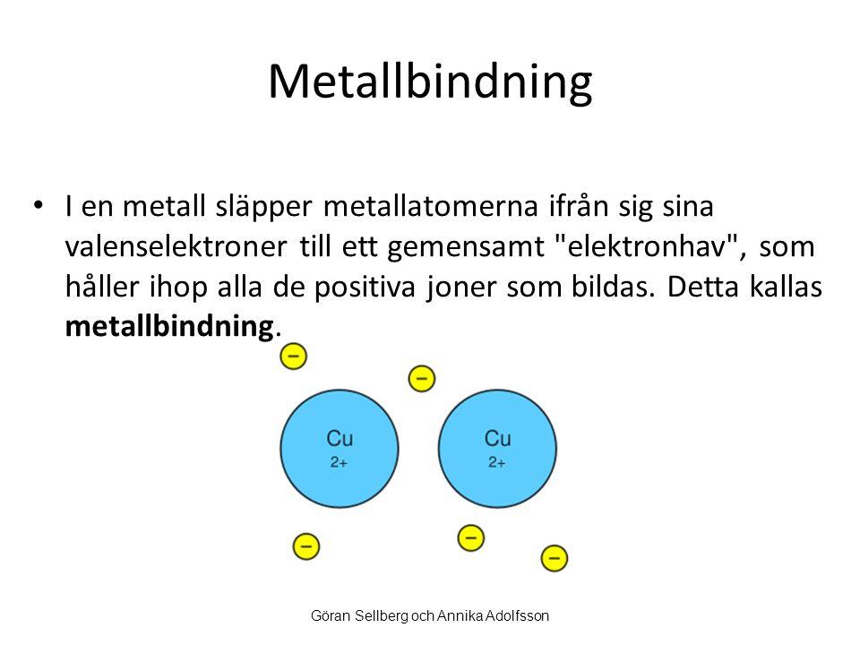 Metallbindning I en metall släpper metallatomerna ifrån sig sina valenselektroner till ett gemensamt