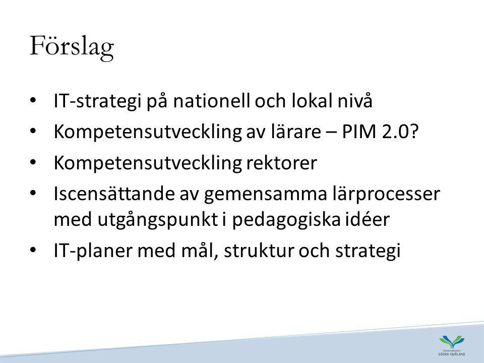 Förslag IT-strategi på nationell och lokal nivå Kompetensutveckling av lärare – PIM 2.0.