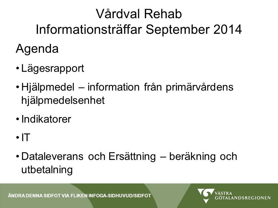 Vårdval Rehab - Lägesrapport 92 diarieförda ansökningar per 3/9 86 enheter godkända 58 enheter start 1/9 25 enheter start 1/10-1/1-15 3 godkända enheter startar ej